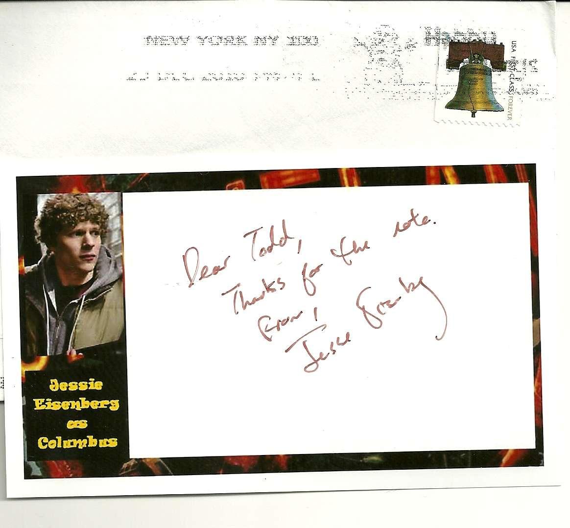 Fanmail.biz • View topic - Jesse Eisenberg (Zombieland ... Jesse Eisenberg Fanmail