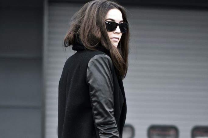 Wearing Leather Sleeves Coat